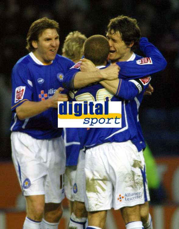 Photo: Dave Linney.<br />Leicester City v Wolverhampton Wanderers. Coca Cola Championship. 04/02/2006. Leicester players celebrate their win at the end of the game.