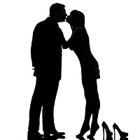 one caucasian couple kissing man and woman barefoot tiptoe full length in studio silhouette isolated on white background