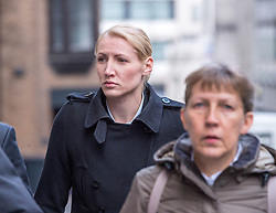 © Licensed to London News Pictures. 08/10/2018. Bristol, UK. Teacher ELLIE WILSON (blonde hair) arrives at Bristol Crown Court for the second week of her trial, accused of having sexual activity with a school pupil. The 29 year old from Dursley in Gloucestershire denies four counts of abuse of position and sexual activity with a child. She was a physics teacher at a Bristol secondary school (which cannot be named for legal reasons) when the alleged offences took place in August 2015. It is alleged that Wilson had sex with the male pupil in the toilet of an aircraft on the return flight from a school trip to southern Africa. When interviewed Wilson said there was a friendship with the boy and admitted she shouldn't have gone as far as she did but there was nothing sexual. Photo credit: Simon Chapman/LNP