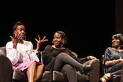 May 2, 2012- New York, United States-(L-R) Writers Karen Goode, Akiba Solomon, and Kierna Mayo, Ebony.com attends the ' Nice with Hers ' Conversation moderated by Nicole Moore, of TheHotness.com in collaboration with Ebony.com held at the Schomburg Center on May 2, 2012 in the village of Harlem in New York City. Nicole Moore speaks with some of the fearless female journalists who wrote the narrative of how the world came to know hip hop, culture, fashion, and itself. (Photo by Terrence Jennings).