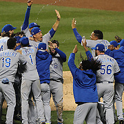 Jubilation as Kansas City Royals celebrate winning the World Series during the New York Mets Vs Kansas City Royals, Game 5 of the MLB World Series at Citi Field, Queens, New York. USA. 1st November 2015. Photo Tim Clayton