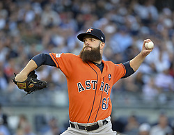 October 18, 2017 - Bronx, NY, USA - Houston Astros starting pitcher Dallas Keuchel works against the New York Yankees in Game 5 of the American League Championship Series at Yankee Stadium in New York on Wednesday, Oct. 18, 2017. (Credit Image: © Howard Simmons/TNS via ZUMA Wire)