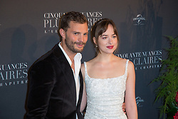 Jamie Dornan and Dakota Johnson attends Fifty Shades Freed world premiere at Salle Pleyel on February 06, 2018 in Paris, France. Photo by ABACAPRESS.COM