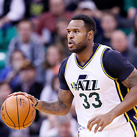 09 December 2015: Utah Jazz forward Trevor Booker (33) brings the ball up court during the Utah Jazz 106-85 victory over the New York Knicks, at the Vivint Smart Home Arena, Salt Lake City, Utah, USA.