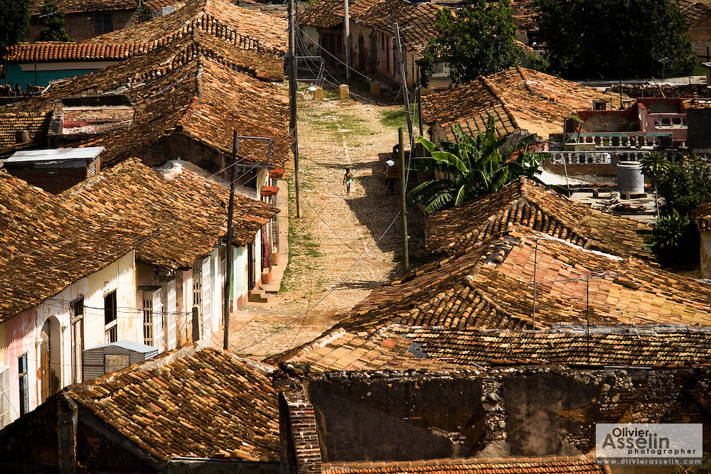 Street and rooftops in colonial city of Trinidad, Cuba on Thursday July 17, 2008.