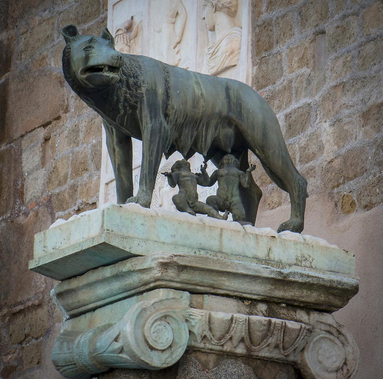 Romulus and Remus being suckled by a she-wolf has been a symbol of the city of Rome and the Roman people. Statue situated in the Piazza de Campidoglio