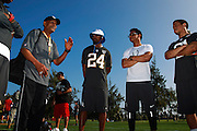 January 28 2016: Oakland Raiders and Grambling State legend Willie Brown speaks to the Team Rice defensive backs after the Pro Bowl practice at Turtle Bay Resort on North Shore Oahu, HI. (Photo by Aric Becker/Icon Sportswire)