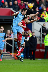 Milan Djuric of Bristol City battles for the high ball with Richard Wood of Rotherham United  - Mandatory by-line: Joe Meredith/JMP - 04/02/2017 - FOOTBALL - Ashton Gate - Bristol, England - Bristol City v Rotherham United - Sky Bet Championship