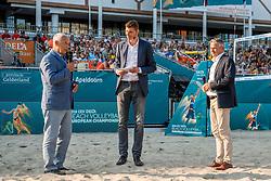 15-07-2018 NED: CEV DELA Beach Volleyball European Championship day 1<br /> Opening van het DELA EK Beach Volleybal 2018 Maris Pekalis, Vice voorzitter CEV, Bas van de Goor, Peter Sprenger