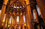 Interior of Cathedral of the Holy Cross and Saint Eulalia, cathedral church in city of Barcelona, Catalonia, Spain