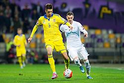 Yevhen Khacheridi (UKR) and Milivoje Novakovic (SLO) during the UEFA EURO 2016 Play-off for Final Tournament, Second leg between Slovenia and Ukraine, on November 17, 2015 in Stadium Ljudski vrt, Maribor, Slovenia. Photo by Urban Urbanc / Sportida