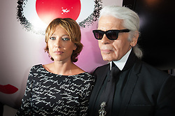 Karl Lagerfeld and Laura Smet attending the launch of 'Karl Lagerfeld for Shu Uemura holiday collection' held at the espace commines on September 11, 2012 in Paris, France. Photo by Nicolas Genin/ABACAPRESS.COM