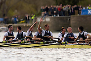 Putney, London, ENGLAND, 02.04.2006, Oxford celebrate victory in the 2006 Varsity, Boat Race, Oxford vs Cambridge,  © Peter Spurrier/Intersport-images.com.[Mandatory Credit Peter Spurrier/ Intersport Images] 2006, Varsity Boat Race,  Varsity, Boat race. Rowing Course: River Thames, Championship course, Putney to Mortlake 4.25 Miles