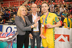 20151011 NED: Supercup Landstede Volleybal - Abiant Lycurgus,  Doetinchem<br /> De volleyballers van Lycurgus hebben op overtuigende wijze de Supercup veroverd. In Doetinchem werd landskampioen en bekerwinnaar Landstede met duidelijke cijfers geklopt: 25-16, 25-17, 25-19 / Frank Lubberts