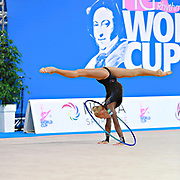 Nazarenkova Elizaveta of Uzbekistan competes during the Rhythmic Gymnastics Individual hoop qulification of the World Cup at Adriatic Arena on April 1, 2016 in Pesaro, Italy. She  is a individual rhythmic gymnast of Russian origin born in  Murmansk in 1995.