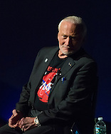Garden City, New York, USA. October 23, 2015. Former NASA astronaut Edwin BUZZ ALDRIN is in conversation about his experiences in space and his new Children's  Middle Grade book Welcome to Mars: Making a Home on the Red Planet. After the talk at the jetBlue Sky Theater Planetarium at Long Island's Cradle of Aviation Museum, Aldrin signed copies of his new book. On the 1969 Apollo 11 mission, Buzz Aldrin was the second person to walk on the Moon, and his first trip to space was the 1966 Gemini 12.