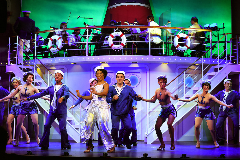 """April 7, 2016, East Haddam, CT<br /> Mara Lavitt -- Special to the Hartford Courant<br /> The run-through of  the classic Cole Porter musical """"Anything Goes"""" being performed at Goodspeed Musicals in East Haddam. Rashidra Scott as Reno Sweeney with the ensemble."""
