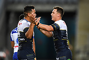 Scott Drinkwater (right) celebrates his try.<br /> North Queensland Cowboys v Canterbury-Bankstown Bulldogs, Round 2 of the Telstra Premiership Rugby League season on Thursday 19th March 2020.<br /> Copyright photo: © NRL Photos 2020