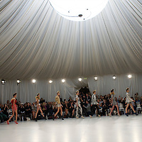 Models exhibit the Sass & Bide spring 2011 collection at a specially constructed exhibition space at the Royal Opera House, Convent Garden, London on 17 September 2010.