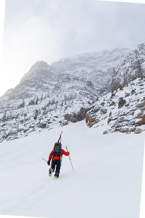 Skiing Boom Lake Couloir in Kootenay National Park