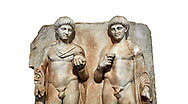 Close up of a Roman Sebasteion relief  sculpture of  Two princes, Aphrodisias Museum, Aphrodisias, Turkey.  Against a white background.<br /> <br /> Two princes stand like statues, naked, wearing cloaks. The left figure holds the orb of the world in one hand, a symbol of  world rule that indicates he is the imperial heir, and in the other a ship's stern ornament (aphlaston), a symbol of naval victory. They and probably Gius and Lucius, the grandsons of Augustus, or Nero and Britanicus, Claudius' heir. .<br /> <br /> If you prefer to buy from our ALAMY STOCK LIBRARY page at https://www.alamy.com/portfolio/paul-williams-funkystock/greco-roman-sculptures.html . Type -    Aphrodisias     - into LOWER SEARCH WITHIN GALLERY box - Refine search by adding a subject, place, background colour, museum etc.<br /> <br /> Visit our ROMAN WORLD PHOTO COLLECTIONS for more photos to download or buy as wall art prints https://funkystock.photoshelter.com/gallery-collection/The-Romans-Art-Artefacts-Antiquities-Historic-Sites-Pictures-Images/C0000r2uLJJo9_s0