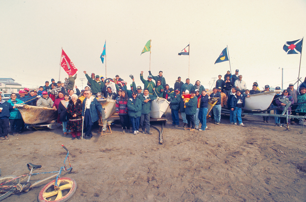 Alaska . Barrow . Six whaling crews with six seal skin boats called umiaks celebrate with their community before the - whale hunt.