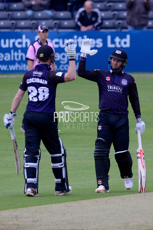 Ian Cockbain and Geraint Jones celebrate the win during the NatWest T20 Blast South Group match between Gloucestershire County Cricket Club and Middlesex County Cricket Club at the Bristol County Ground, Bristol, United Kingdom on 15 May 2015. Photo by Alan Franklin.
