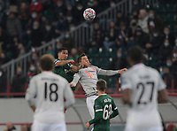 MOSCOW, RUSSIA - OCTOBER 27: Murilo Cerqueira of Lokomotiv Moskva contests Robert Lewandowski of FCBayern Muenchen during the UEFA Champions League Group A stage match between Lokomotiv Moskva and FC Bayern Muenchen at RZD Arena on October 27, 2020 in Moscow, Russia. (Photo by MB Media)