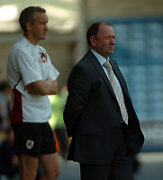 Photo: Tony Oudot.<br /> Millwall v Bristol City. Coca Cola League 1. 28/04/2007.<br /> Bristol City manager Gary Johnson is dejected as his team miss a chance of promotion