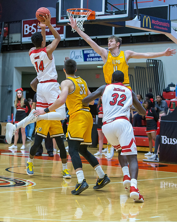 12 NOV 2019: The SIUE Cougars host the Valparaiso Crusaders for a mens basketball game at the Vadalabene Center, Tuesday, November 12, 2019 on the campus of Southern Illinois University Edwardsville. (Photo: Scott Kane / SIUE Athletics)