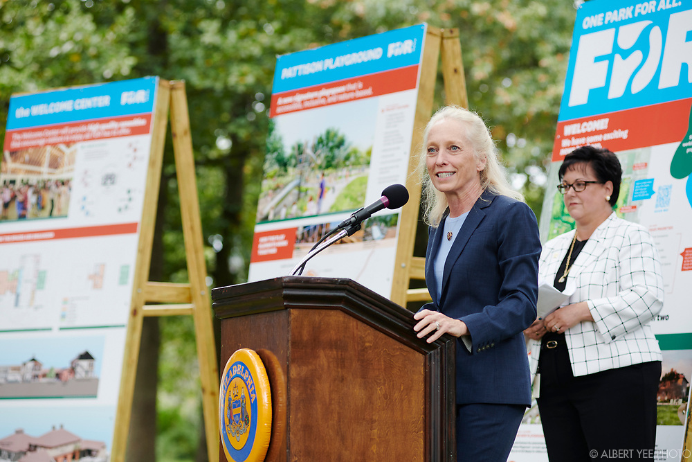 Mary Gay Scanlon, U.S. Congresswoman, PA-05<br /> Fairmount Park Conservancy, the City of Philadelphia, elected officials, and the Friends of FDR Park will reveal new designs for FDR Park, soliciting community input on future usage, and announce significant city investment in this South Philadelphia treasure. Program will highlight the coming play space and Welcome Center at FDR Park with a speaking program and unveiling.<br /> <br /> DETAILS: Fairmount Park Conservancy, the non-profit organization that brings Philadelphia parks to life, in partnership with Philadelphia Parks & Recreation and the Friends of FDR Park, recently began the implementation of the FDR Park Master Plan, a vision that offers a once-in-a generation opportunity to reimagine a historic Olmsted Park to serve 21st-century Philadelphians.<br /> <br /> The Gateway Phase of the master plan will enhance the visitor experience by restoring and transforming the 5,500 square foot guardhouse at FDR Park's Broad Street and Pattison Avenue entrance into a Welcome Center. The Welcome Center will include a courtyard with restrooms, a staffed information center, equipment rentals, food vendors, and co-working spaces for park staff and community partners. The Welcome Center will also transform the existing stables into a 4,000-square- foot cafe and 6,700-square-foot event space overlooking the Pattison Lagoon.<br /> <br /> Adjacent to the Welcome Center will be a world-class destination play space that encourages nature play. Park-goers of all ages and abilities will be able to enjoy the playscape with rolling paths, climbing structures, log scrambles, and treehouses. A mega-swing set will provide a unique swing experience unlike any other in the city, overlooking the Pattison Lagoon.<br /> <br /> Learn more about the FDR Park Master Plan: https://myphillypark.org/what-we-do/capital-projects/fdr-park/<br /> <br /> for Fairmount Park Conservancy<br /> October 6, 2021