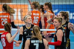 Belgium in action during the Women's friendly match between Netherlands and Belgium at Sporthal De Basis on may 19, 2021 in Sliedrecht, Netherlands (Photo by RHF Agency/Ronald Hoogendoorn)