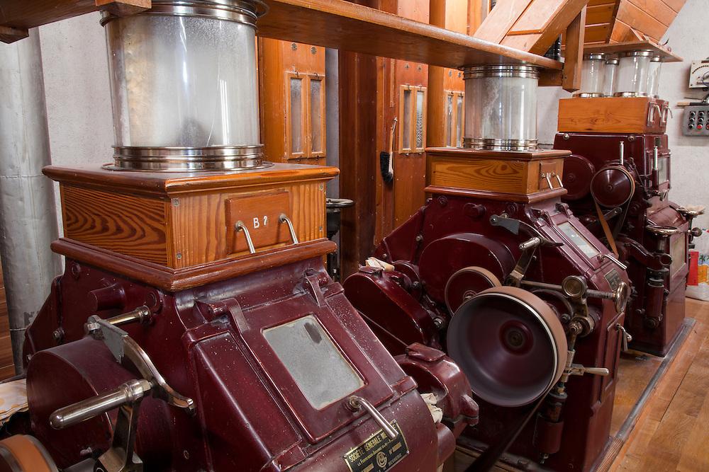Old Flour Machines from a traditional flour mill in Regional Park the Livradois-Forez, St. Dier d'Auvergne, Auvergne, France