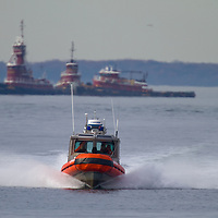 The USCG Defender class boat , also called response boat-small (RB-S), is a standard boat introduced by the United States Coast Guard in July 2003. The boats are 25 feet in length and powered by twin 225hp (168kW) Honda outboard motors, they are capable of speeds in excess of 46knots (85km/h) and have a range of 105 or 150nautical miles (278km), depending on the type of fuel tanks used. The boat can launch with a two-person crew, but has a carrying capacity for 10 persons.  The boat pictured here is 25424 stationed at Sandy Hook NJ