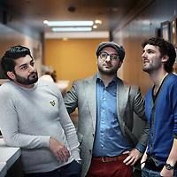 Nederland, Amsterdam , 12 mei 2014.<br /> 3 genomineerde studenten van de filmacademie zijn genomineerd voor Studenten Oscar voor film die ze hebben gemaakt.<br />  (midden) Aydin Dehzad, (rechts) Bas Broertjes en (links) Nima .Mohaghegh<br /> Foto:Jean-Pierre Jans