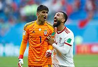 Ali Beiranvand (iran) and Roozbeh Cheshmi (Iran) celebration<br /> Saint Petersburg 15-06-2018 Football FIFA World Cup Russia  2018 <br /> Morocco - Iran / Marocco - Iran <br /> Foto Matteo Ciambelli/Insidefoto