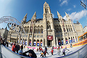 "The annual ""Eistraum"" (Ice Dream) in front of Vienna's City Hall draws many skaters between January and March, each year. The artificially cooled ice rink works even at outside temperatures above zero degrees Celsius."