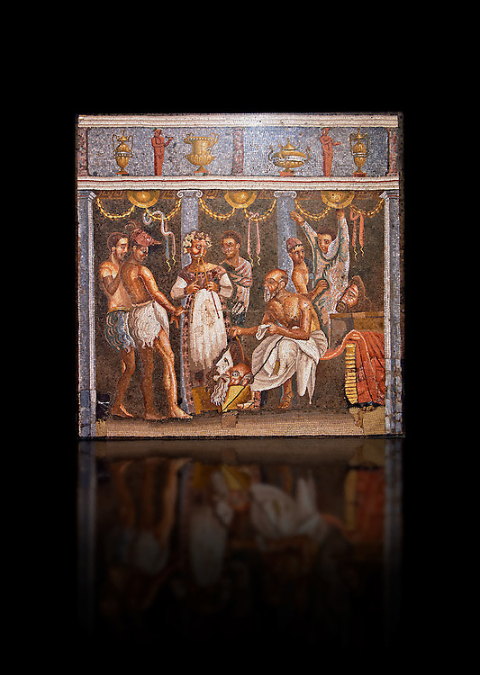 Roman mosaic of actors from the Casa del Poet Tragic (VI 8, 3,) Pompeii, inv 9986. Naples Archaeological Musum, Italy.<br /> <br /> If you prefer to buy from our ALAMY PHOTO LIBRARY  Collection visit : https://www.alamy.com/portfolio/paul-williams-funkystock/roman-mosaic.html - Type -   Naples    - into the LOWER SEARCH WITHIN GALLERY box. Refine search by adding background colour, place, museum etc<br /> <br /> Visit our ROMAN MOSAIC PHOTO COLLECTIONS for more photos to download  as wall art prints https://funkystock.photoshelter.com/gallery-collection/Roman-Mosaics-Art-Pictures-Images/C0000LcfNel7FpLI