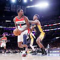 21 March 2014: Los Angeles Lakers forward Nick Young (0) defends on Washington Wizards forward Martell Webster (9) during the Washington Wizards 117-107 victory over the Los Angeles Lakers at the Staples Center, Los Angeles, California, USA.