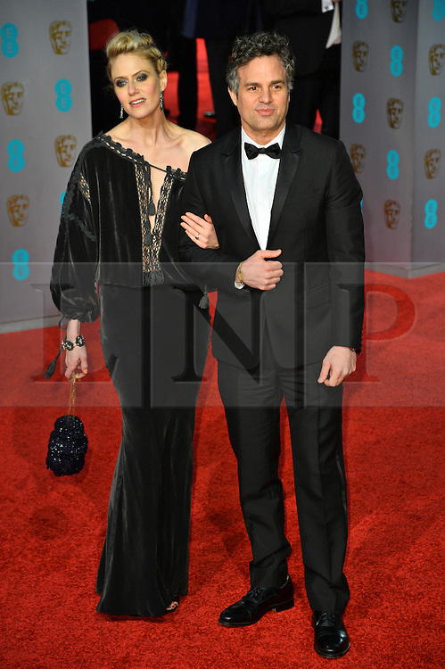 © Licensed to London News Pictures. 14/02/2016.  London, UK. MARK RUFFALO and SUNRISE COIGNEY arrives on the red carpet at the EE British Academy Film Awards 2016  Photo credit: Ray Tang/LNP