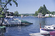 Henley On Thames. Oxfordshire/ Berkshire. United Kingdom. 26/17.05.2017. General View, as the regatta build is being completed, towards, Temple Island, River Thames. <br /> <br /> <br /> [Mandatory Credit Peter SPURRIER/Intersport Images]