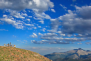 USA, Colorado, Rocky Mountain National Park, tourists at Forest Canyon Overlook.