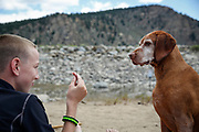 SHOT 8/3/14 12:22:53 PM - Jacob O'Connell, 11, of Albuquerque, N.M. gets Tanner, a male Vizsla belonging to his uncle, to stay while waiting for a piece of meat during a camping trip in Granite, Co. The San Isabel National Forest is located in central Colorado. The forest contains 19 of the state's 54 fourteeners, peaks over 14,000 feet high, including Mount Elbert, the highest point in Colorado.<br /> (Photo by Marc Piscotty / © 2014)