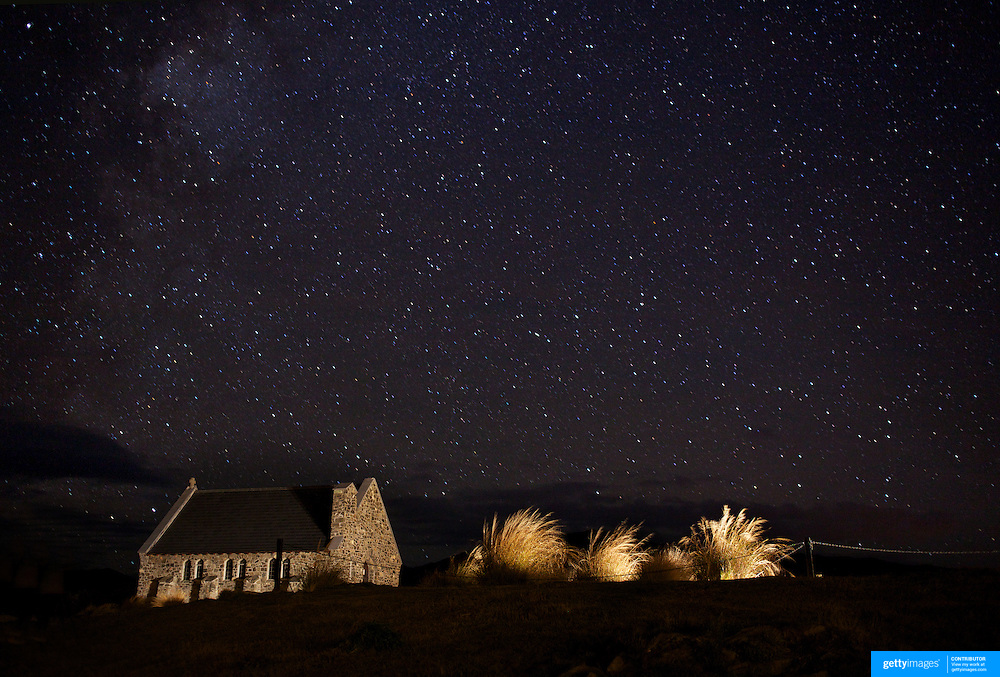The Church of the Good Shepherd under the stars of the southern night sky. Situated on the shores of Lake Tekapo, the Church of the Good Shepherd, was the first church built in the Mackenzie Basin in 1935. Surrounded by mountains and far from the glare of city lights, Lake Tekapo's cloud free skies make it the best place in the Southern Hemisphere to see the night sky. Lake Tekapo, New Zealand, 8th June 2011. Photo Tim Clayton.