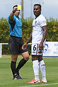 Match referee Calvin Berg issues Auckland City FC's Brian Kaltack Van a yellow card in the Handa Premiership football match, Hawke's Bay United v Auckland City FC, Bluewater Stadium, Napier, Sunday, January 31, 2021. Copyright photo: Kerry Marshall / www.photosport.nz