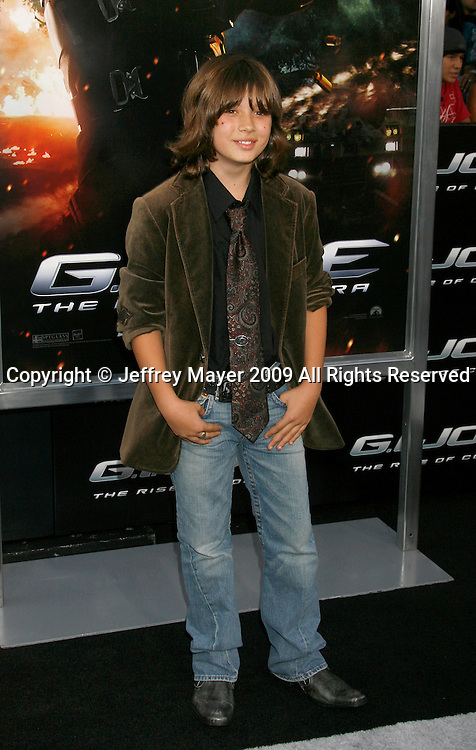 """HOLLYWOOD, CA. - August 06: Leo Howard arrives at a special screening of """"G.I. Joe: The Rise Of The Cobra"""" on August 6, 2009 in Hollywood, California."""