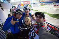 Part of Team GSX in the commentators tower at the 2014 UCI BMX Supercross World Cup in Manchester.