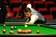 Mark Selby of England during his match v Dave Harold of England.  Bet Victor Welsh Open snooker at the Newport centre in Newport, South Wales on Monday 24th Feb 2014.<br /> pic by Andrew Orchard, Andrew Orchard sports photography.