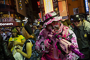 A man dressed as a soldier in pink camouflage during the Halloween celebrations Shibuya, Tokyo, Japan. Saturday October 27th 2018. The celebrations marking this event have grown in popularity in Japan recently. Enjoyed mostly by young adults who like to dress up, drink , dance and misbehave in parts of Tokyo like Shibuya and Roppongi. There has been a push back from Japanese society and the police to try to limit the bad behaviour.