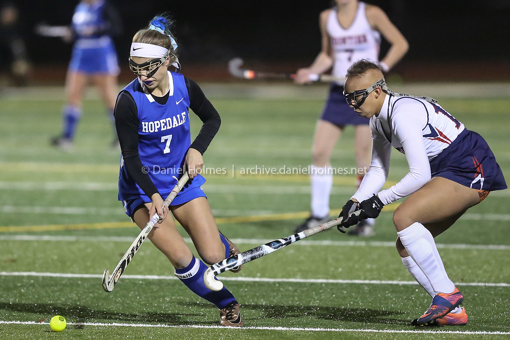 (11/14/19, SHREWSBURY, MA) Hopedale's Zoe Athanasopoulas takes the ball up field during the Division 2 state semifinals against Frontier at Shrewsbury High School on Thursday. [Daily News and Wicked Local Photo/Dan Holmes]